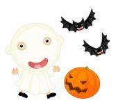 Cartoon halloween child girl — Stock Photo