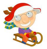 Cartoon winter  boy sleigh — Stock Photo