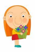 Cartoon girl with flowers — Stock Photo