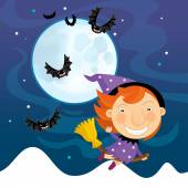 Witch child flying on broomstick — Stock Photo