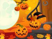 Cartoon halloween scene — Stock Photo