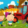 Farmer and his wife near the tractor — Stock Photo #57485131