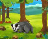 Cartoon  badger — Stock Photo