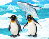 Penguins and whale — Stock Photo