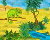 Cartoon green chameleon — Foto Stock