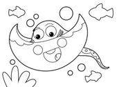 Cartoon animal - sting ray — Stock Photo