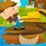 Cartoon scene fisherman catches fish — Stock Photo #71787701
