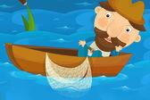 Мультфильм символов рыбака — Стоковое фото