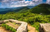 Benches and view of the Appalachians from Craggy Pinnacle, near  — Stock Photo