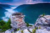 Fog in the Blackwater Canyon at sunset, seen from Lindy Point, B — Stock Photo