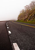 Skyline Drive disappears into fog, in Shenandoah National Park,  — Stock Photo