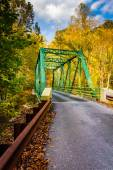 Autumn color and a bridge in Gunpowder Falls State Park, Marylan — Stock Photo