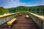 Benches on a small pier at Lake Oolenoy, Table Rock State Park,  — Stock Photo