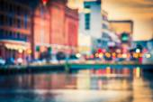 Bokeh seen at the Inner Harbor in Baltimore, Maryland.  — Stock Photo