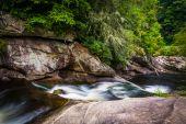 Cascades on the Cullasaja River in Nantahala National Forest, No — Stock Photo