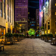 Постер, плакат: Courtyard along 51st Street in Rockefeller Center at night in M