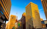 Evening light on a cluster of buildings in downtown Baltimore, M — Foto Stock