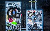 Graffiti and stickers on power meters in Little Five Points, Atl — Stock Photo
