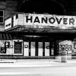 Light trails and the old movie theater in Hanover, Pennsylvania — Stock Photo #52592067