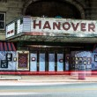 Light trails and the old movie theater in Hanover, Pennsylvania — Stock Photo #52592073