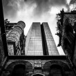 Looking up at a cathedral and the John Hancock Building in Bosto — Stock Photo #52593859