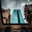 Looking up at a cathedral and the John Hancock Building in Bosto — Stock Photo #52593885