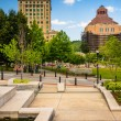 Park and buildings in downtown Ashevillle, North Carolina. — Stock Photo #52597375
