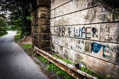 Guardrail and graffiti on a wall under a bridge, near Spring Gro — Stock Photo