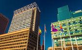 Highrises along Pratt Street in the Inner Harbor of Baltimore, M — Stock Photo