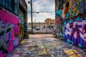 Incredible artwork in Graffiti Alley, Baltimore, Maryland. — Stock Photo