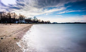 Oxford, maryland chesapeake körfezi üzerinde uzun pozlama. — Stok fotoğraf