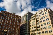 Looking up at buildings in Boston, Massachusetts.  — Stock Photo