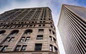 Looking up at highrises in downtown Baltimore, Maryland. — Stock Photo