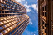Looking up at modern buildings in Boston, Massachusetts.  — Stock Photo