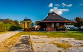 Old train and railroad station in New Oxford, Pennsylvania.  — Stock Photo