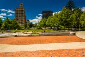Pack Square Park and highrises in Asheville, North Carolina. — Stock Photo