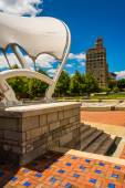 Pack Square Park and the Jackson Building in Asheville, North Ca — Stock Photo