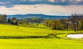 Pond and fields on a farm in rural York County, Pennsylvania.  — Stock Photo