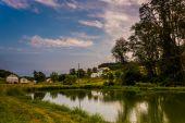 Pond on a farm in rural York County, Pennsylvania.  — Stock Photo