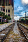 Railroad tracks and buildings in Orlando, Florida.  — Stock Photo