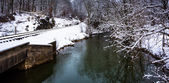 Railroad tracks and creek during the winter, in rural Carroll Co — Stock Photo