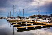 Reflections at a marina in Canton, Baltimore, Maryland. — Stock Photo