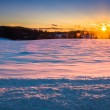 Sunset over a snow covered field in rural York County, Pennsylva — Stock Photo #52605259