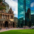 ������, ������: The John Hancock Building and Trinity Church at Copley Square in