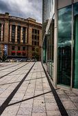 Sidewalk and buildings in Boston, Massachusetts.  — Stock Photo