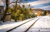 Snow covered railroad tracks in Lineboro, Maryland.  — Stock Photo