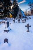 Snow-covered cemetary at the National Shrine Grotto of Lourdes i — Stock fotografie
