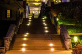 Staircase at night in National Harbor, Maryland.  — Zdjęcie stockowe