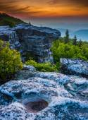Sunrise at Bear Rocks Preserve, in Dolly  Sods Wilderness, Monon — Stock Photo