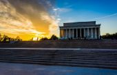 Sunset at the Lincoln Memorial in Washington, DC.  — Stock Photo